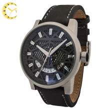 Customized Waterproof Black brown stainless steel Japan quartz Leather Strap china top watch brands for men