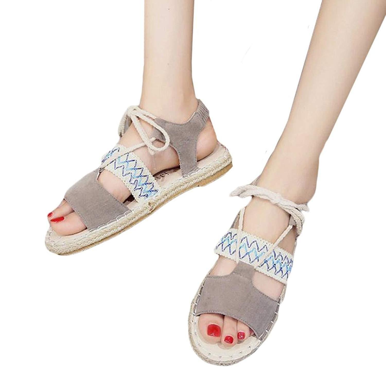 Women Flats Shoes,Hemlock Hot Sales Summer Girl Rome Sandals Bandage Flat Bottom Espadrilles Holiday Wedges Sandals