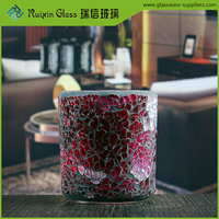High quality beautiful stained candle holders wholesale crackle glass candle holder