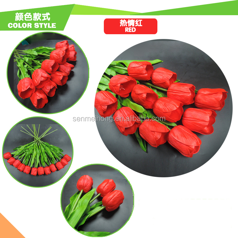 Factory Wholesale Real touch Multi-color artificial wedding PU tulips flower