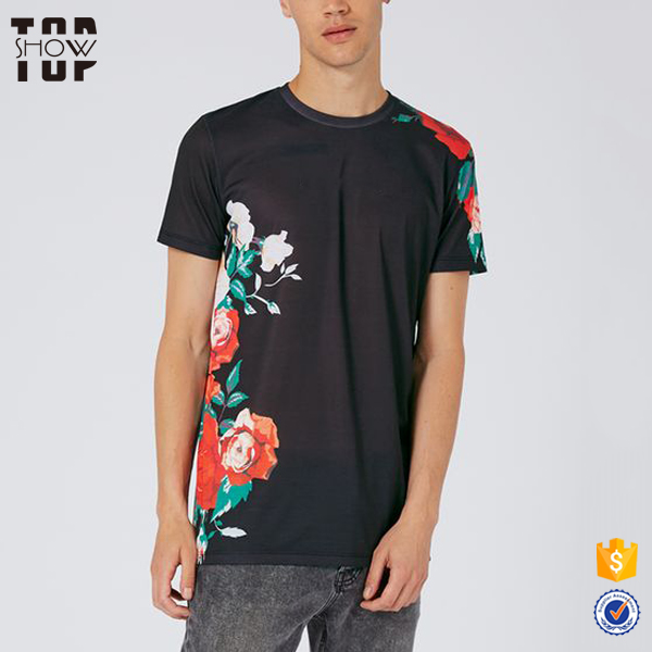 Wholesale alibaba crew neck new model men's rose print t-shirt no label