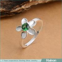 Fashion 925 stamped silver flower engraved engagement ring
