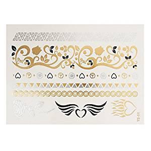 f2de4e55b Get Quotations · OOFAYZBL 1pc Flash Metallic Waterproof Tattoo Gold Silver  Wings Heart Rose Flowers Temporary Tattoo Sticker YS