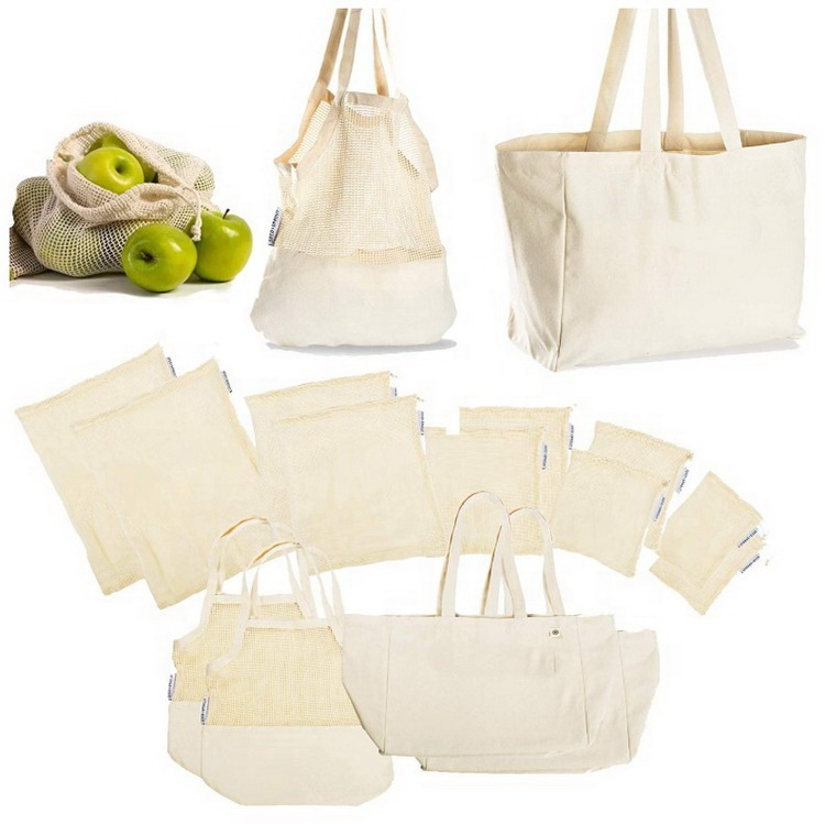 कार्बनिक कपास पुन: प्रयोज्य उत्पादन ढोना बैग सेट जाल drawstring शुद्ध फल बैग