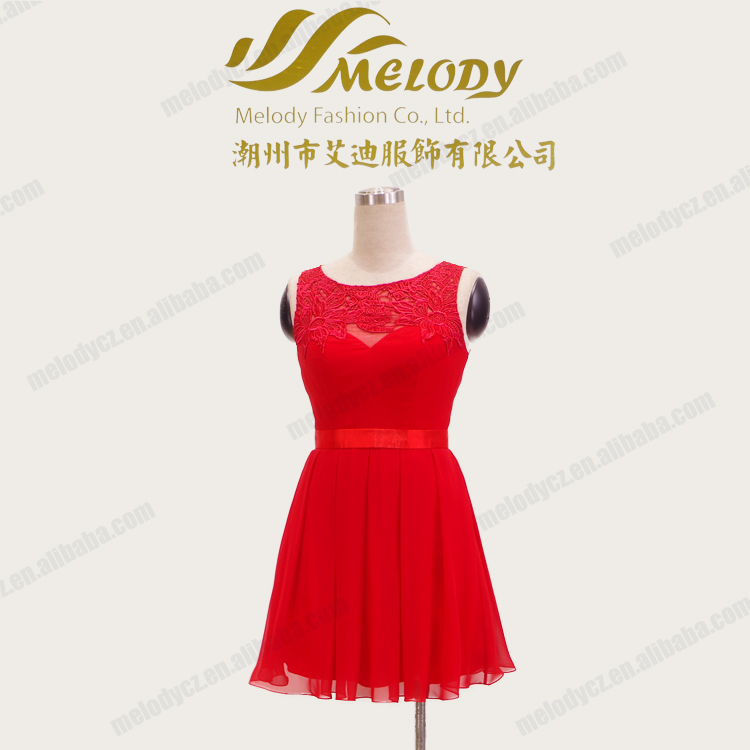 Red chiffon lace qppliqued short breathable summer dresses casual for girls