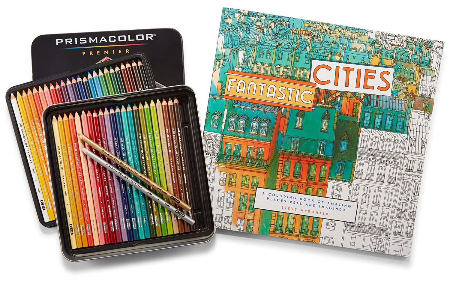 Prismacolor Premier Colored Pencils, Soft Core, 48 Pack and Adult Coloring Book (Fantastic Cities)