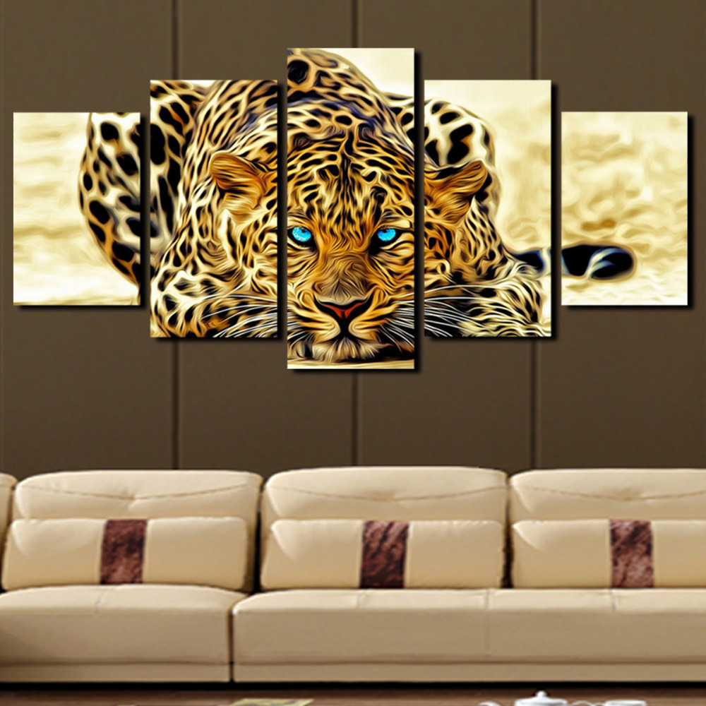 5 Plane Abstract Leopards Modern Home Decor Wall Art Canvas Animal Picture Print Painting Set of 5 Each Canvas Arts (Unframed)