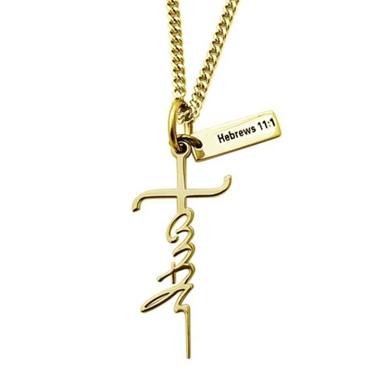 Woman/'s Solid 14K Yellow Gold Faith Cross Necklace Hebrews 1:11