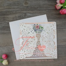 Wholesale Flower and Heart Laser Cut Wedding Invitation Card with Ribbon Bow