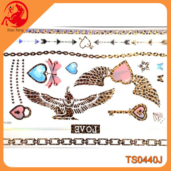 Non-toxic, customized water transfer body tattoo sticker heart with wings key leopard print golden tattoo stickers