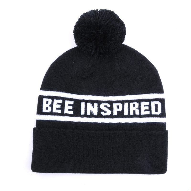 Jacquard Winter Custom Pom Pom Knitted Beanie Hat