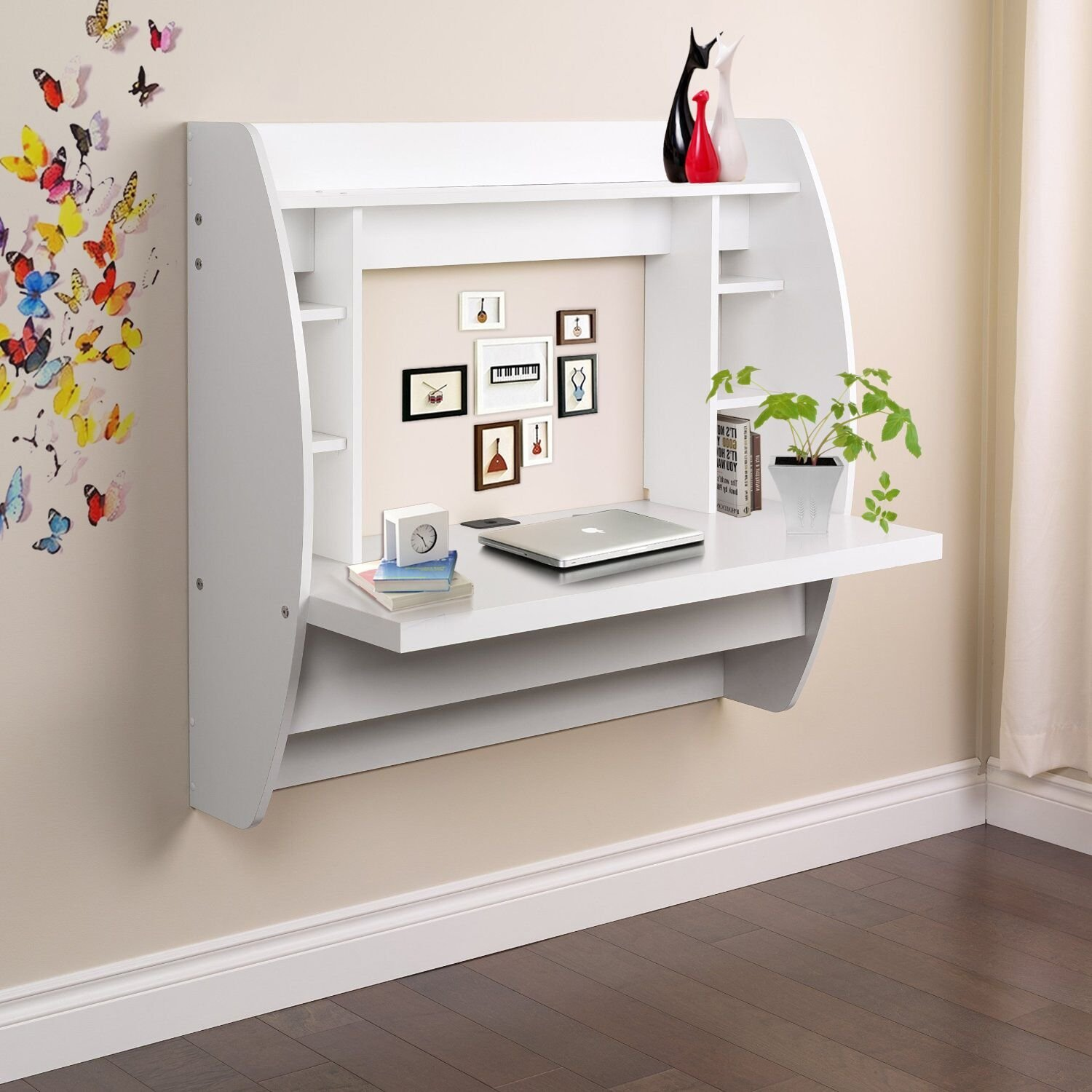 office wall desk. Get Quotations · Unionline Office Computer Desk Floating Wall Mount With Storage Shelf Space Saving Home U