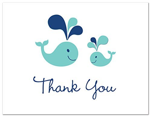 MyExpression.com 50 Cnt Teal Whale Splash Baby Shower Thank You Cards