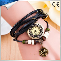 Best Selling Original High Quality Women Genuine Leather Vintage Watches Bracelet Rose Flower Wristwatches VW023