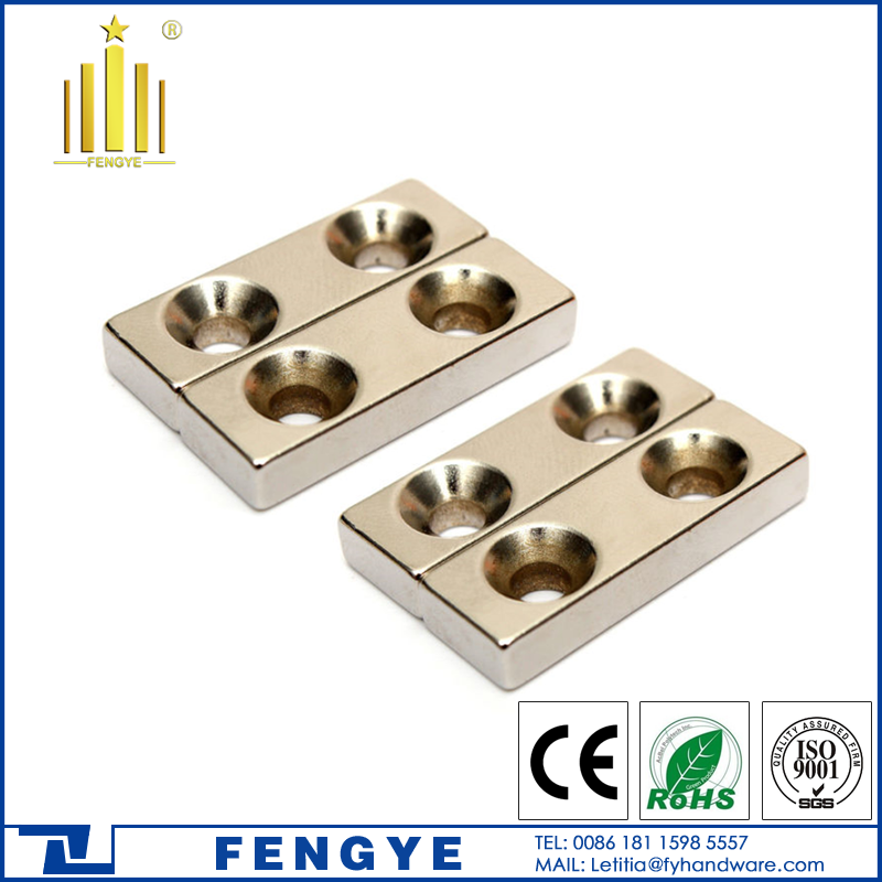 Wholesale Super Strong Block Magnets with <strong>Hole</strong> 4mm