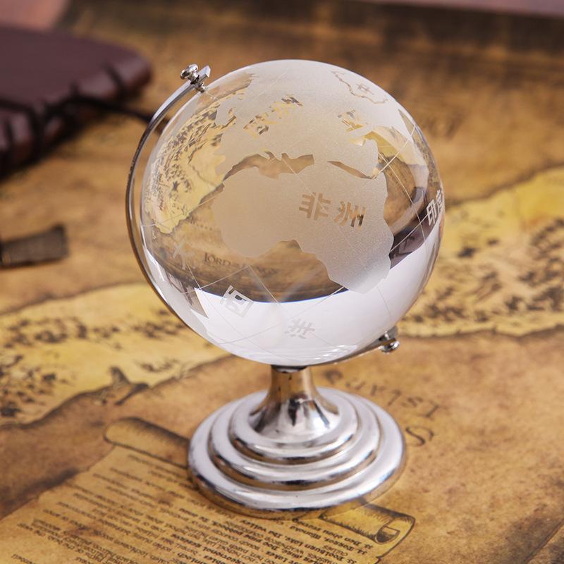 Transparent Crystal Glass World Globe Office Home Decoration Birthday Gift Company Employee Student Souvenir