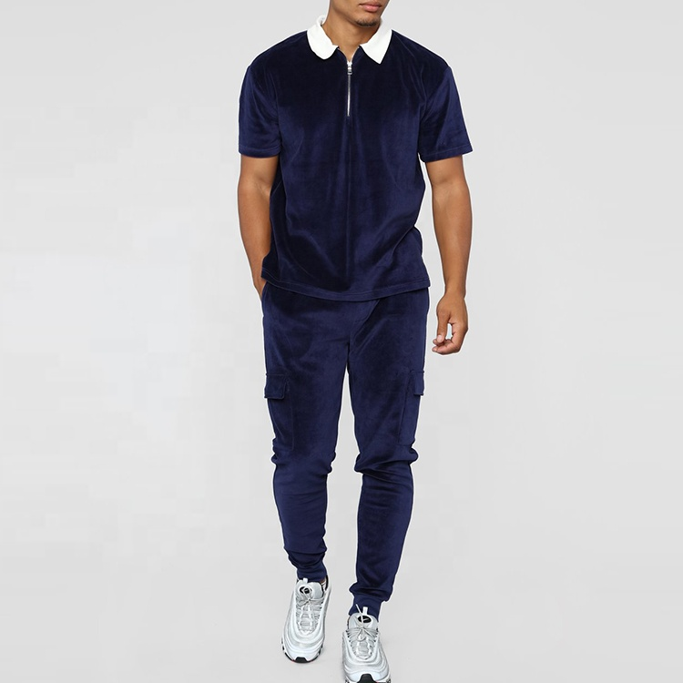 China Factory Short Sleeve Polo T Shirt Velour Track Pants Mens Tracksuits Blank Jogging Suits