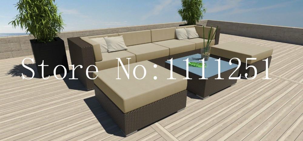 2015 7 PC Modern Outdoor All Weather Wicker Rattan Patio