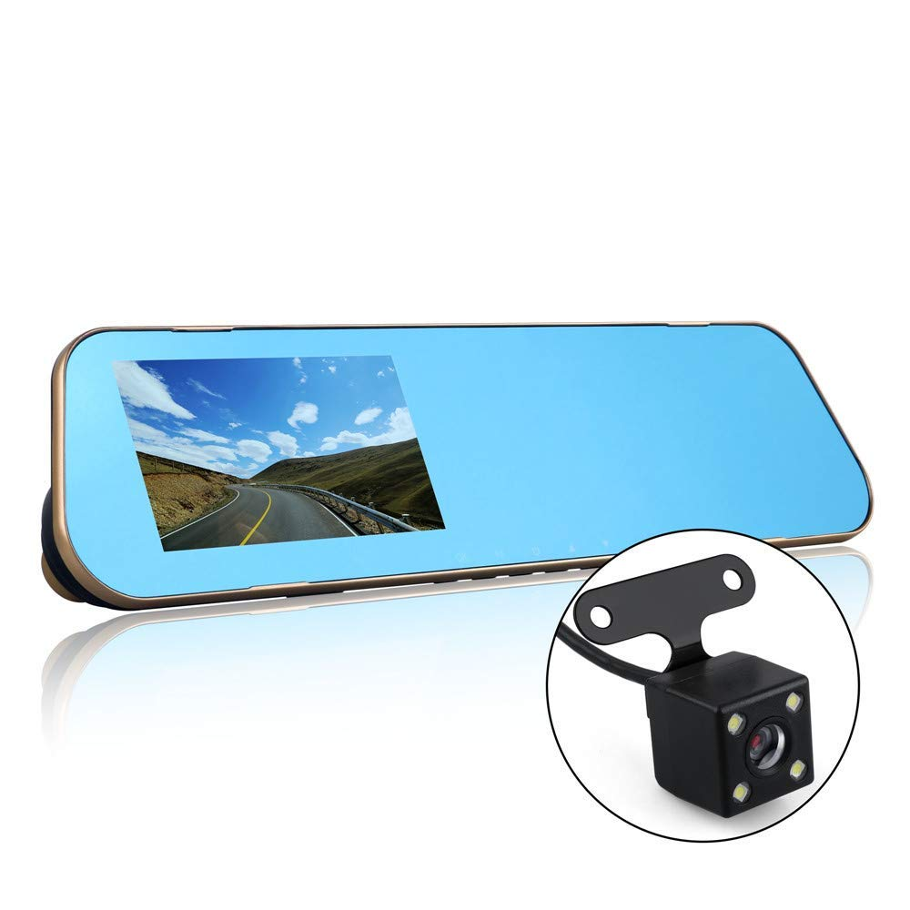 Dual Lens Dash Cam, Mirror Dash Cam 4.3 Inch Touch Screen, 170° Wide Angle Front Car Camera Video Recorder Rearview Backup Camera 1080P with Parking Monitor G-Sensor Loop Recording