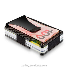 New Model RFID Credit Card Holder with money clips carbon fiber card holder