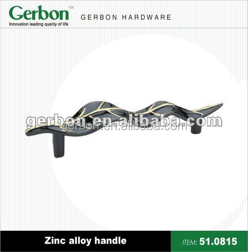 classic leaf type T-bar black zinc alloy handle