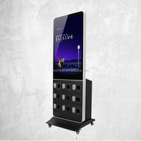 Easy to move! Indoor network advertising charger kiosk with 9 phone charging lockers and base wheels