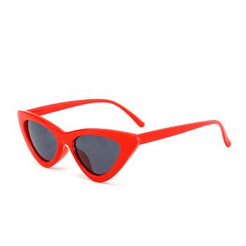 730fa28df5 2018 mignon sexy rétro yeux de chat lunettes de soleil femmes petit noir  triangle blanc vintage