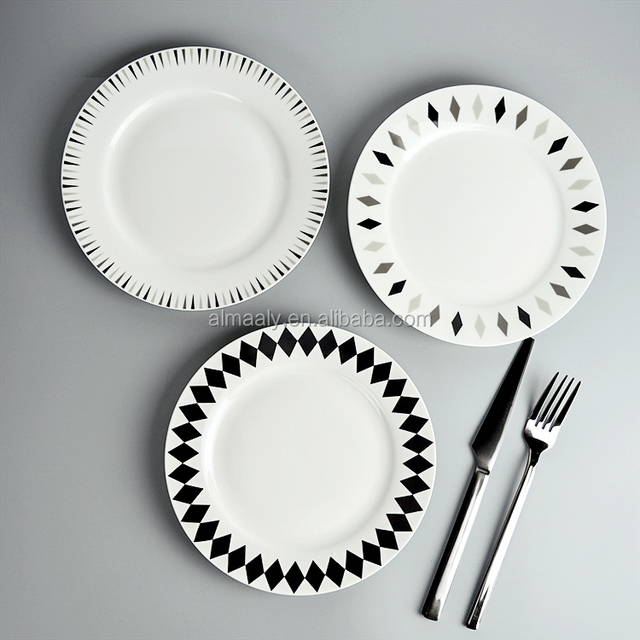 Microwave safe white flat plate ceramic dinner set & microwave safe ceramic plate set-Source quality microwave safe ...