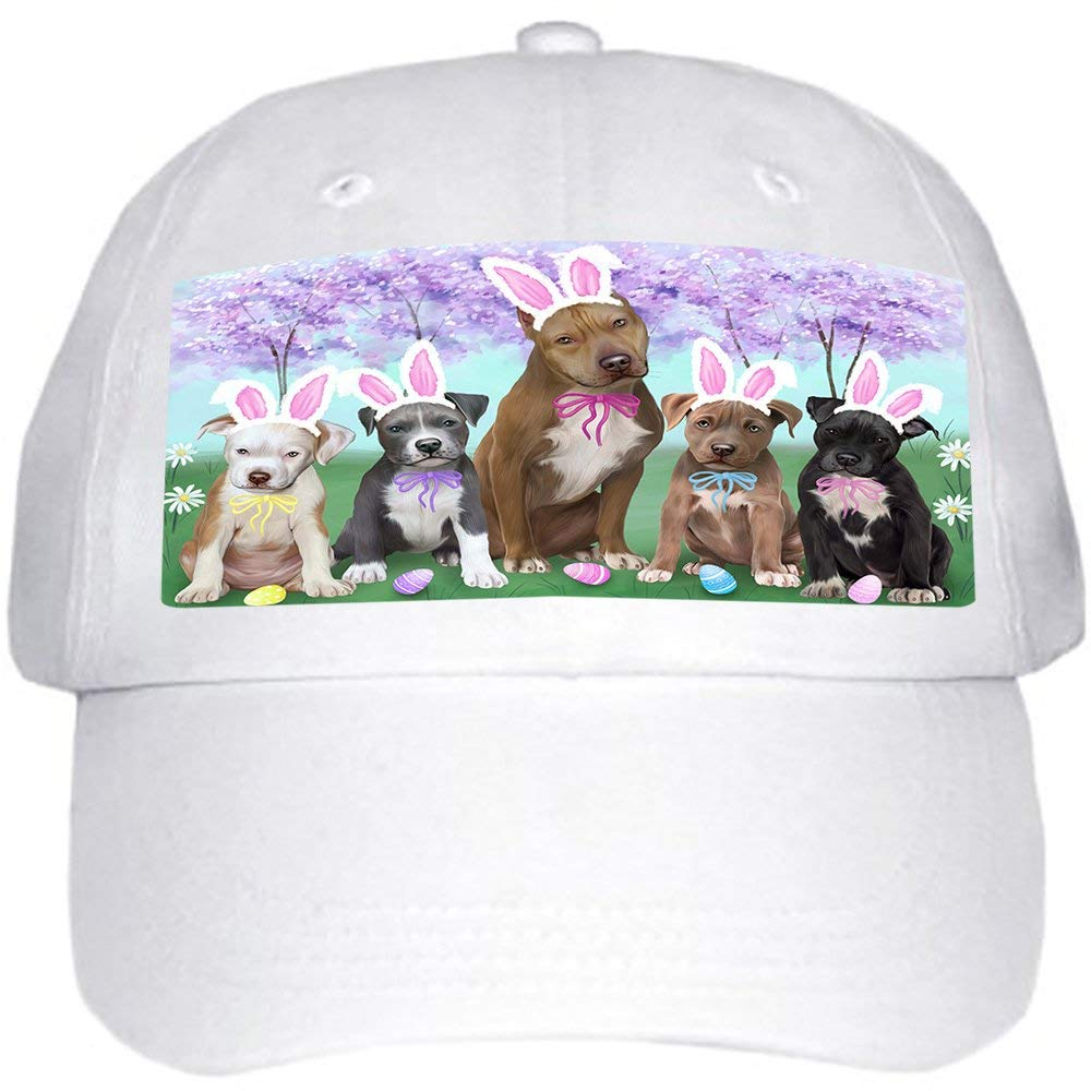 961438220bb Get Quotations · Pit Bulls Dog Easter Holiday Ball Hat Cap HAT51348 (White)