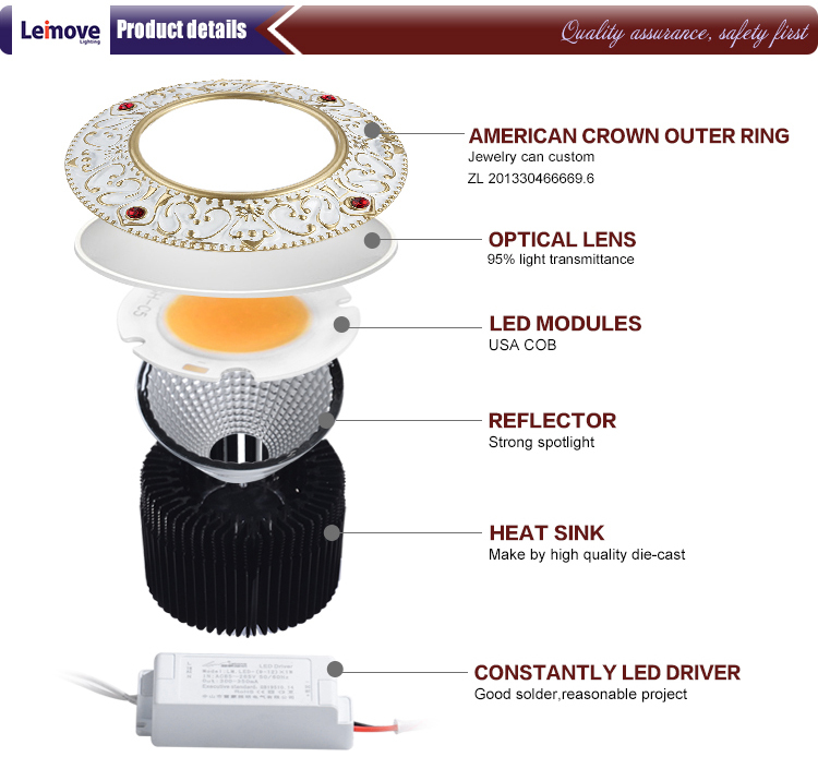 Leimove 15w slim led round downlight in best price