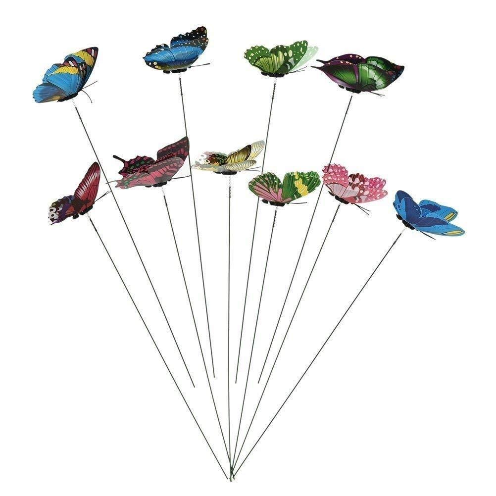 WarmShine 10 Pieces Miniature Fairy Garden Butterflies On Sticks Colourful Garden Flower Plant Pot Craft Decoration