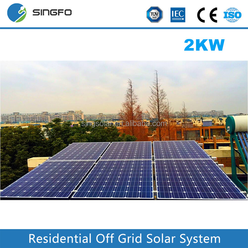 Singfo 2KW Home Grid Tied Solar power System Roof Top Mounting Solar Energy Generating System for Home Used