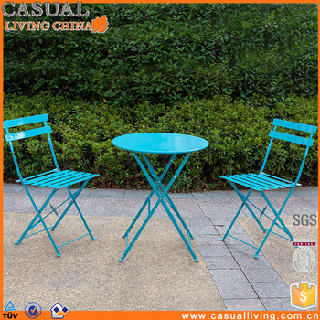 Folding French Metal Bistro Table Chair Sets