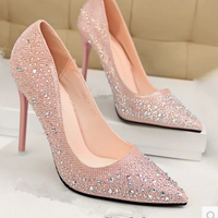 latest fancy diamond wedding dress shoes women high heel shoes design