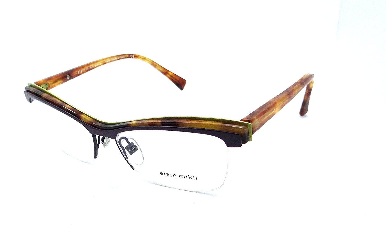 afe00b2fe33 Get Quotations · Alain Mikli Rx Eyeglasses Frames A02020 E176 54x16 Violet    Lime   Havana Italy