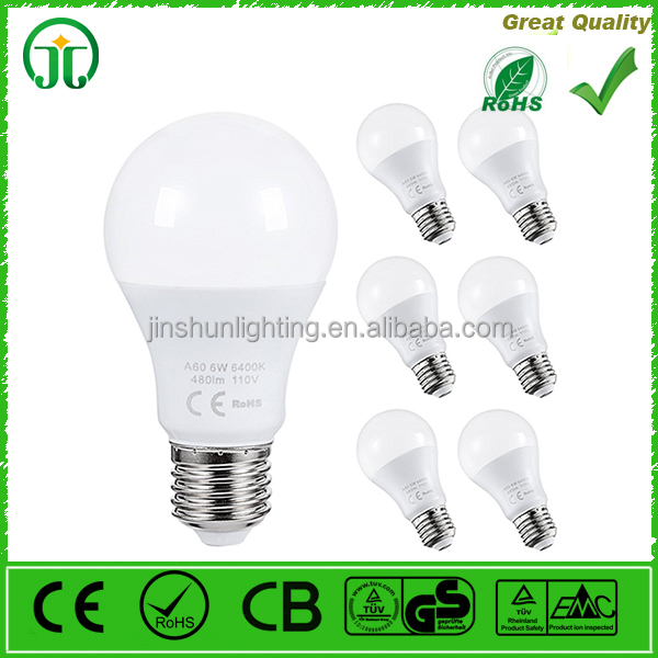 LED Globe Bulbs, A60 LED Light Bulbs 60 watt Equivalent, 6 Watt Daylight White 6400K