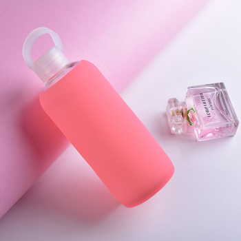 Hot Sale Durable Heat resistant Clear Glass Water Bottle with silicone sleeve