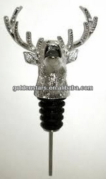 2014 new brand quality stag head metal pour spout liquor dispenser pourer