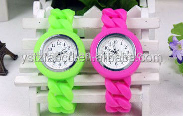 Hot selling most vogue candy color silicone slap watch