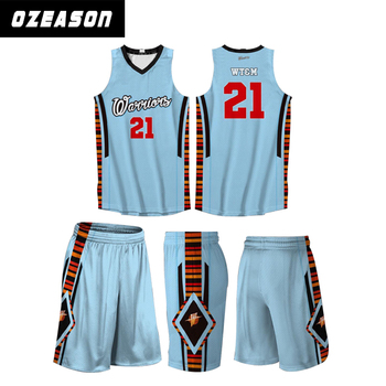 db1b36442 Unique Top Quality Sublimation Reversible Basketball Uniform Set Sky Blue Basketball  Jersey