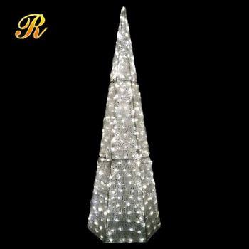acrylic light up hexagon christmas tree for outdoor decoration