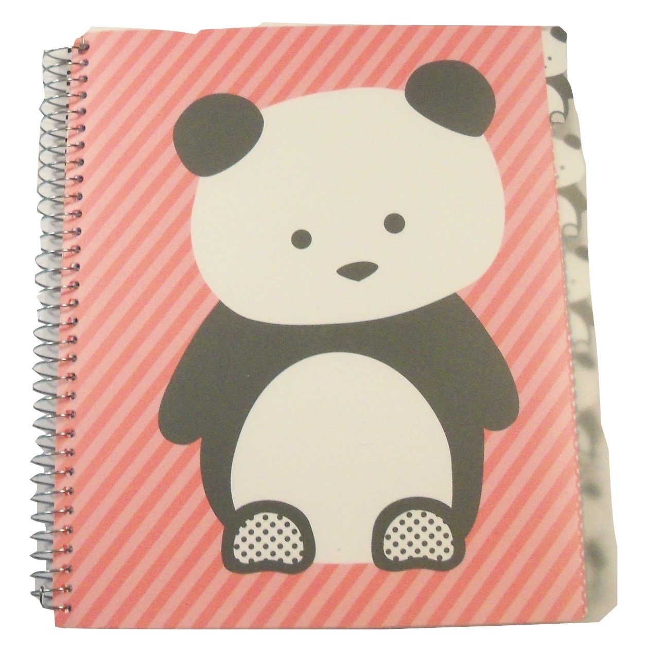 Carolina Pad Studio C College Ruled Poly Cover 5-Subject Spiral Notebook ~ Hair of the Dog (Panda on Pink Stripes; 150 Sheets, 300 Pages)
