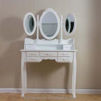 Art Deco Shabby Dressing Table Vanity 7 Drawers 3 Mirrors Bedroom Makeup Dresser