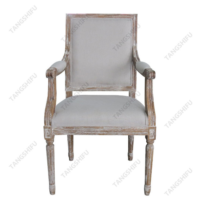 Commercial upholstery furniture antique style oak wood dining arm chair  with white fabric cover - Buy Cheap China Antique Oak Dining Chair Products, Find China