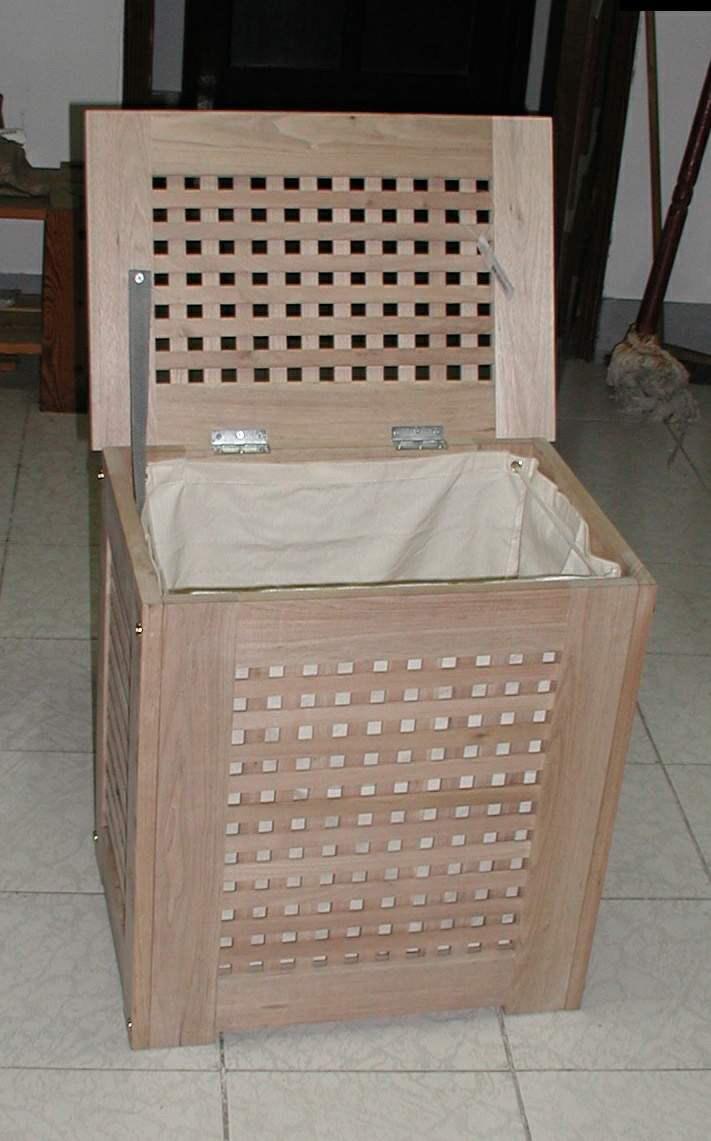 Solid Wooden Bathroom Hamper Laundry Basket Solid Walnut