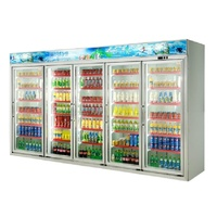 Five Doors Supermarket Display Cooler with Wheels for Beverage