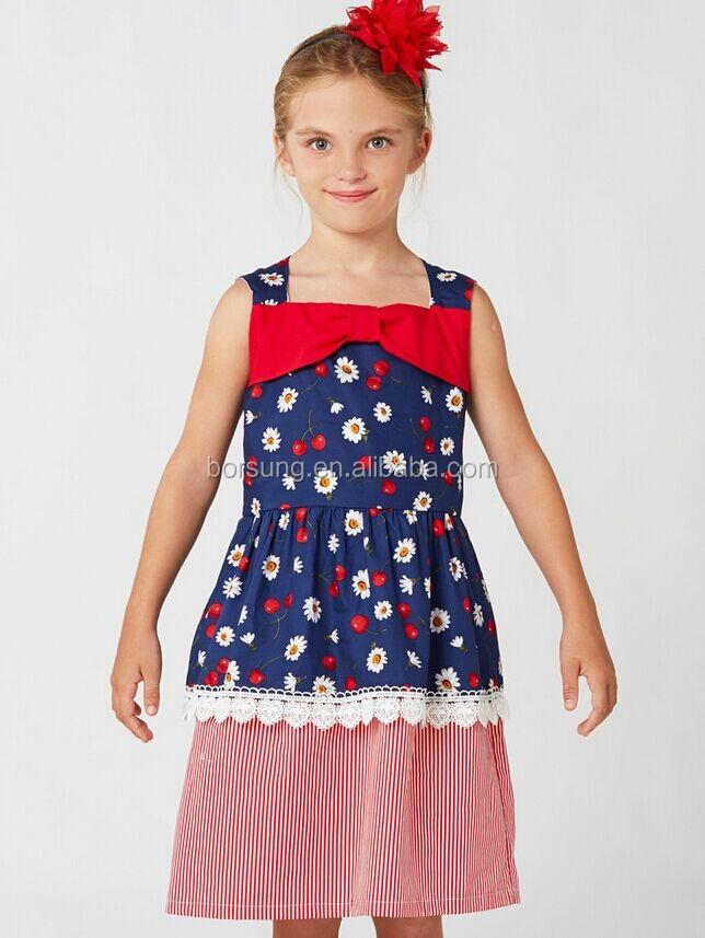 0dfd78b4883 Latest Dress Designs Polk Dots Sewing Pattern Fashion Flower Kids Girls  Casual Cotton Summer Dresses