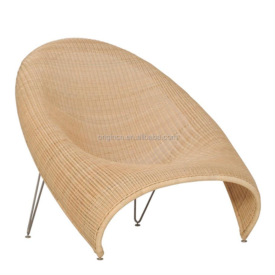 Modern Papasan Chair: Modern Papasan Shaped Hotel Balcony Rattan Sun Lounger
