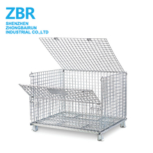 Heavy Duty Folding Stackable Wire Mesh Storage Bin Cage For Cargo