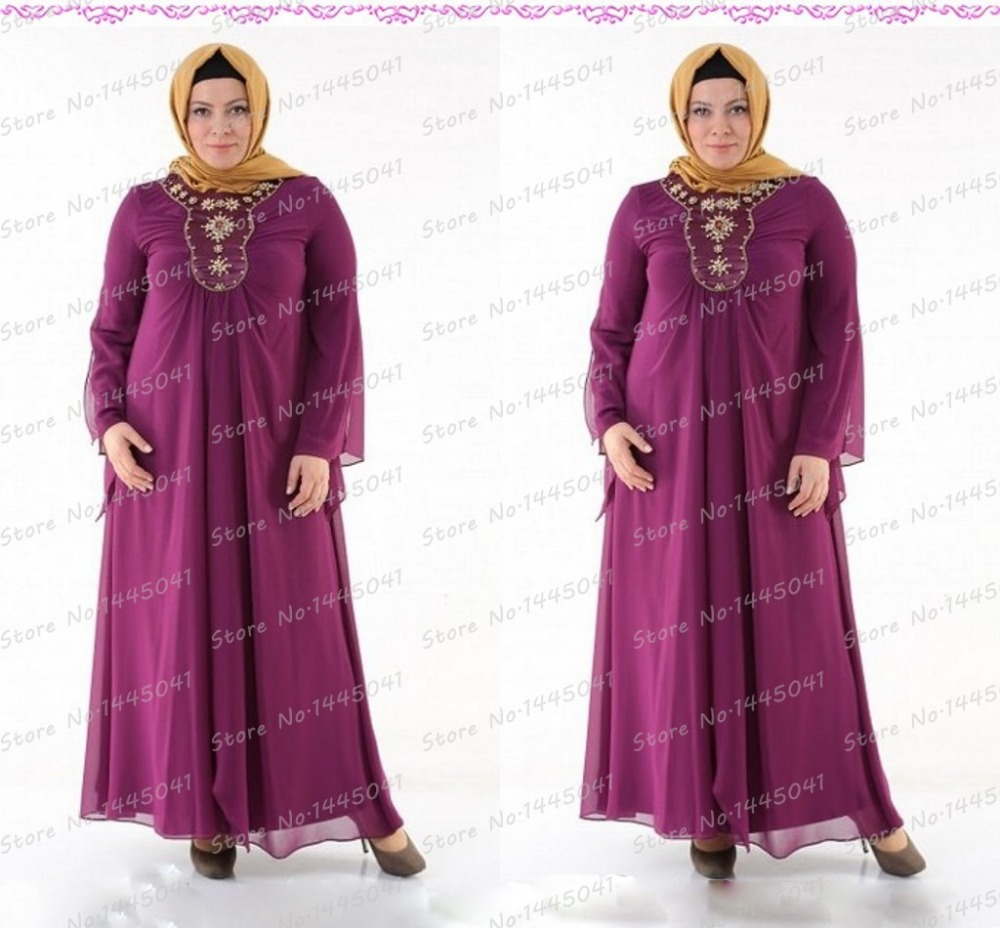 b43e05659105 Get Quotations · robe de soiree plus size purple long mother of the bride  dresses long sleeve islamic clothing